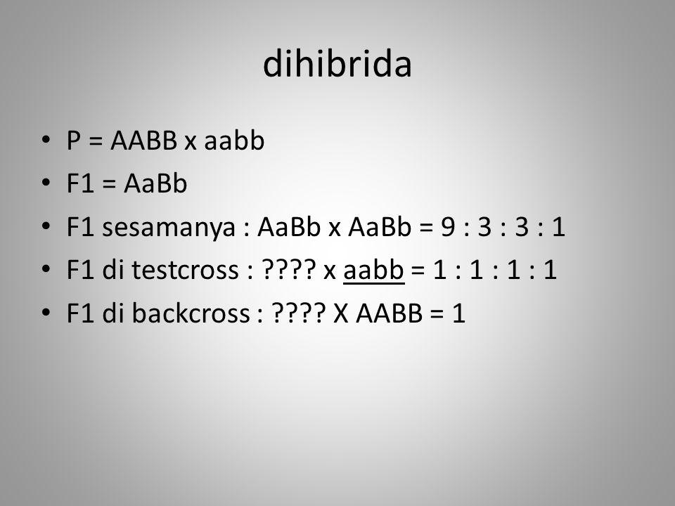 dihibrida P = AABB x aabb F1 = AaBb F1 sesamanya : AaBb x AaBb = 9 : 3 : 3 : 1 F1 di testcross : ???? x aabb = 1 : 1 : 1 : 1 F1 di backcross : ???? X
