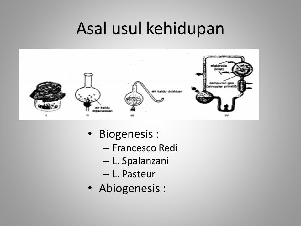 Asal usul kehidupan Biogenesis : – Francesco Redi – L. Spalanzani – L. Pasteur Abiogenesis :