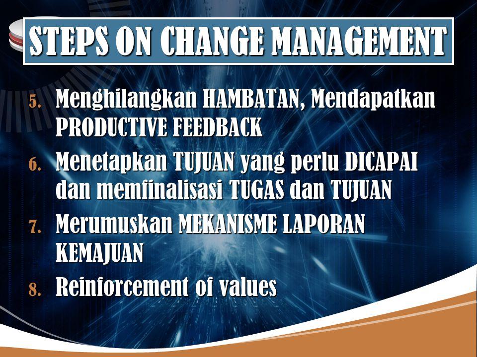 LOGO STEPS ON CHANGE MANAGEMENT 5.Menghilangkan HAMBATAN, Mendapatkan PRODUCTIVE FEEDBACK 6.