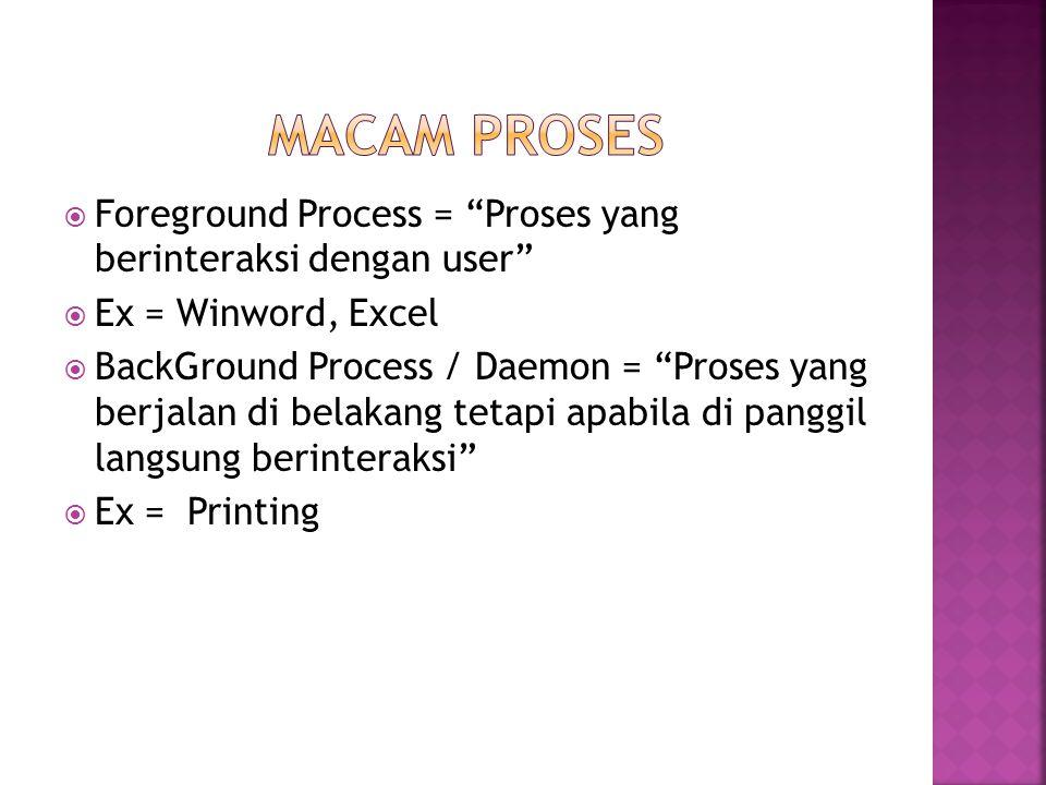 """ Foreground Process = """"Proses yang berinteraksi dengan user""""  Ex = Winword, Excel  BackGround Process / Daemon = """"Proses yang berjalan di belakang"""