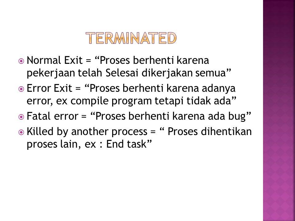 """ Normal Exit = """"Proses berhenti karena pekerjaan telah Selesai dikerjakan semua""""  Error Exit = """"Proses berhenti karena adanya error, ex compile prog"""