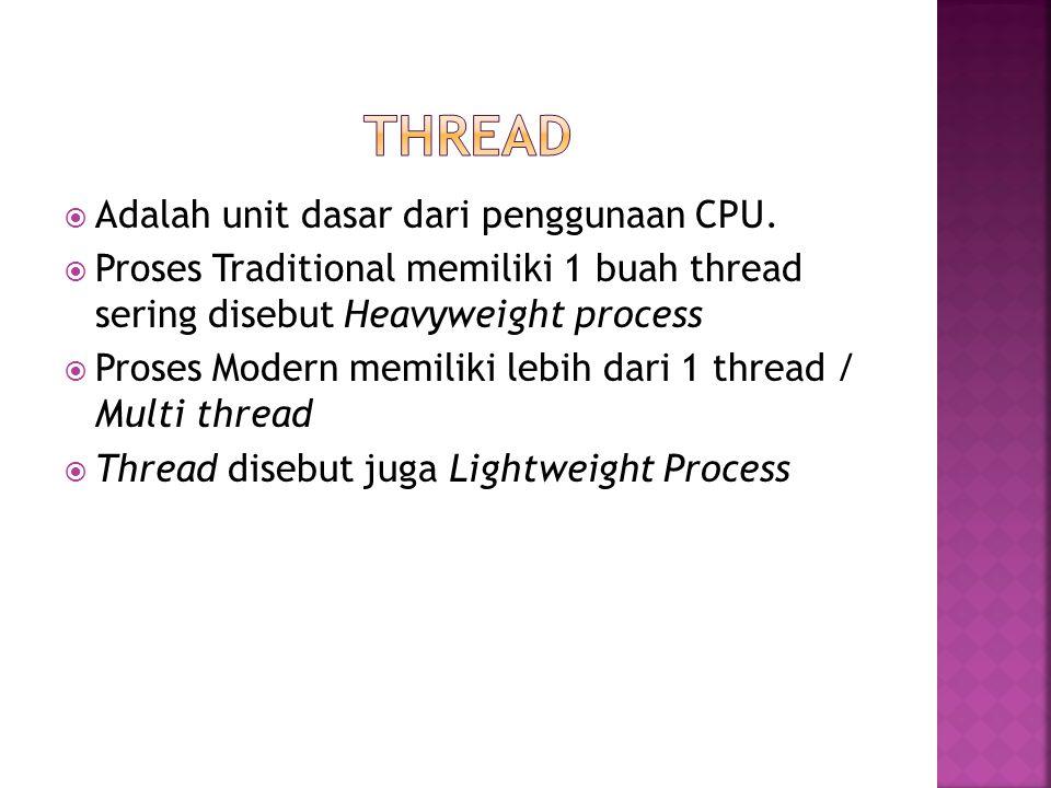  Adalah unit dasar dari penggunaan CPU.  Proses Traditional memiliki 1 buah thread sering disebut Heavyweight process  Proses Modern memiliki lebih