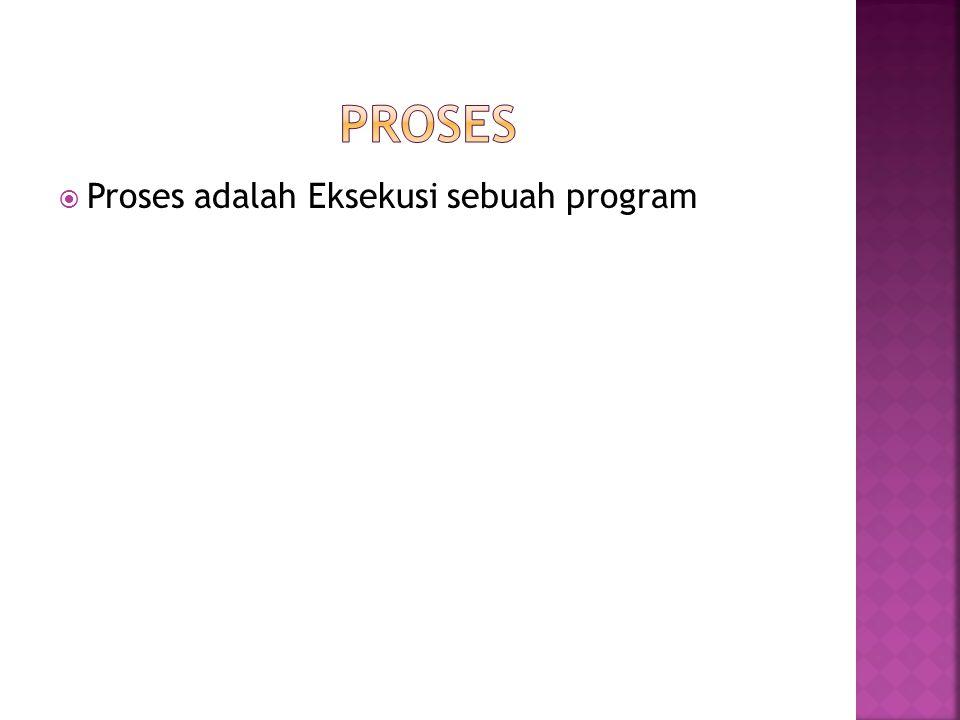  Proses adalah Eksekusi sebuah program