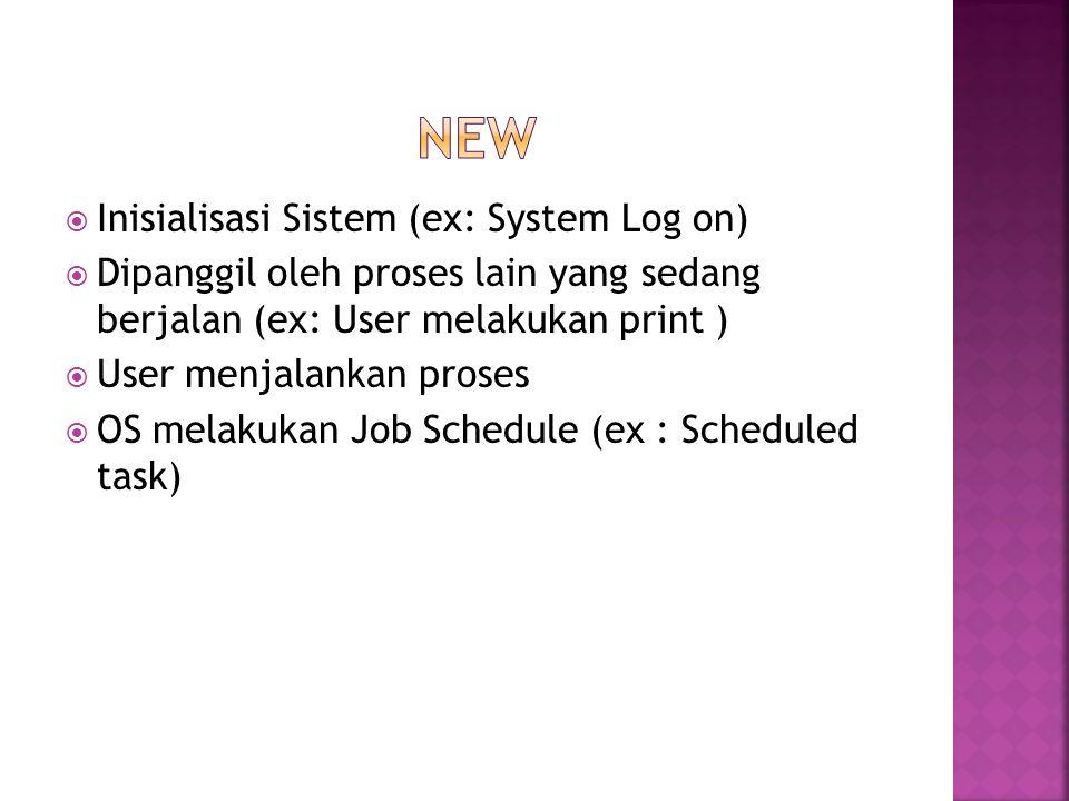  Inisialisasi Sistem (ex: System Log on)  Dipanggil oleh proses lain yang sedang berjalan (ex: User melakukan print )  User menjalankan proses  OS