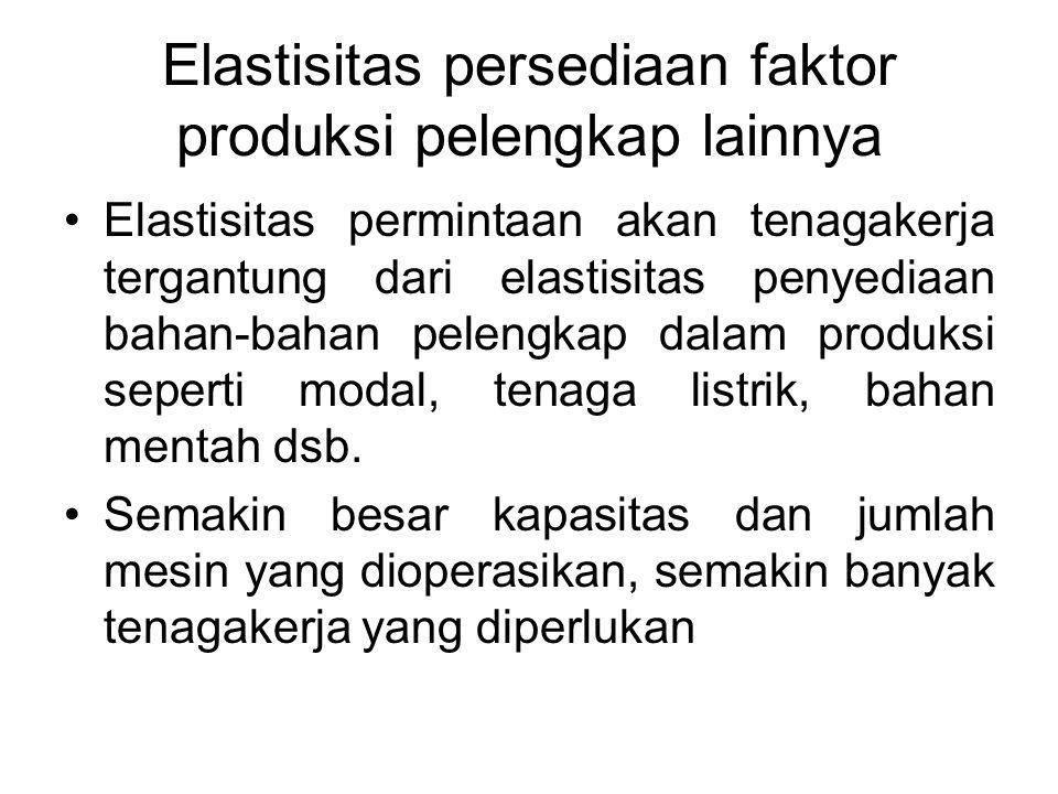 Elastisitas persediaan faktor produksi pelengkap lainnya Elastisitas permintaan akan tenagakerja tergantung dari elastisitas penyediaan bahan-bahan pelengkap dalam produksi seperti modal, tenaga listrik, bahan mentah dsb.