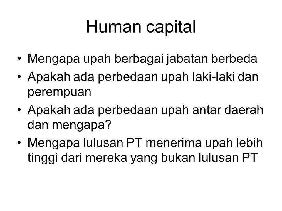 Human capital Mengapa upah berbagai jabatan berbeda Apakah ada perbedaan upah laki-laki dan perempuan Apakah ada perbedaan upah antar daerah dan mengapa.