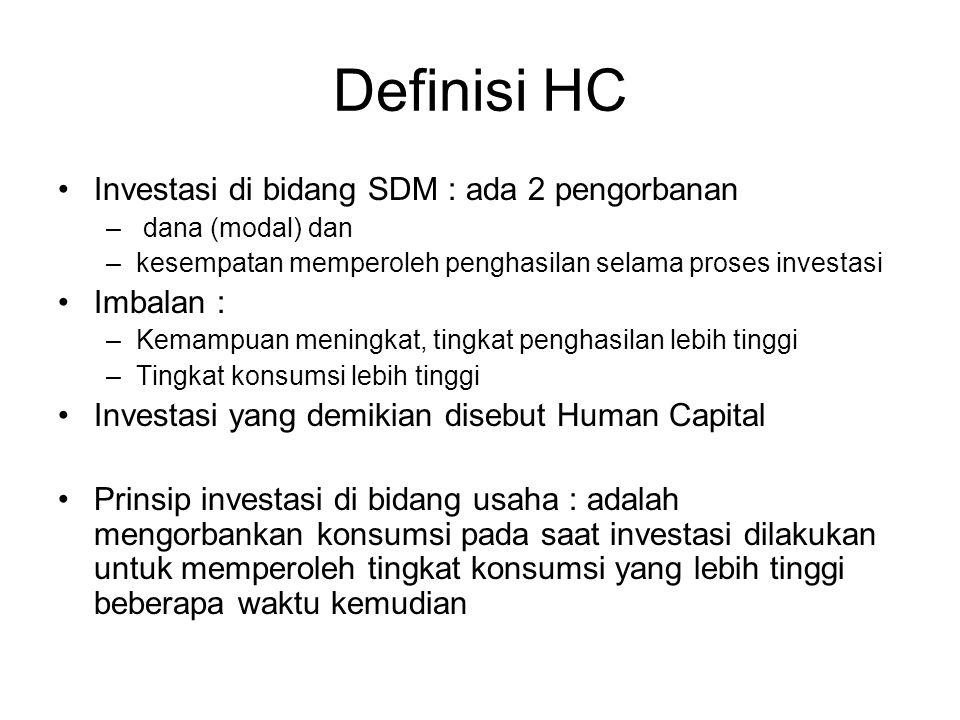 Definisi HC Investasi di bidang SDM : ada 2 pengorbanan – dana (modal) dan –kesempatan memperoleh penghasilan selama proses investasi Imbalan : –Kemampuan meningkat, tingkat penghasilan lebih tinggi –Tingkat konsumsi lebih tinggi Investasi yang demikian disebut Human Capital Prinsip investasi di bidang usaha : adalah mengorbankan konsumsi pada saat investasi dilakukan untuk memperoleh tingkat konsumsi yang lebih tinggi beberapa waktu kemudian