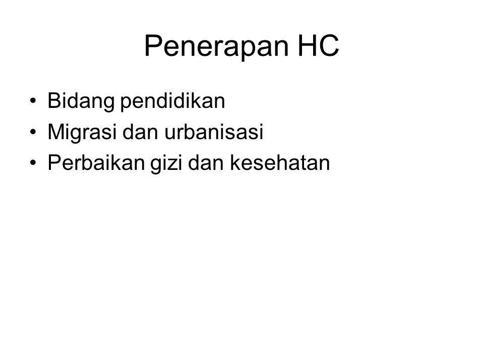 Penerapan HC Bidang pendidikan Migrasi dan urbanisasi Perbaikan gizi dan kesehatan