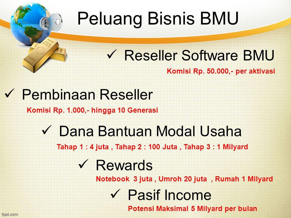 Peluang Bisnis BMU Reseller Software BMU Dana Bantuan Modal Usaha Komisi Rp. 50.000,- per aktivasi Tahap 1 : 4 juta, Tahap 2 : 100 Juta, Tahap 3 : 1 M