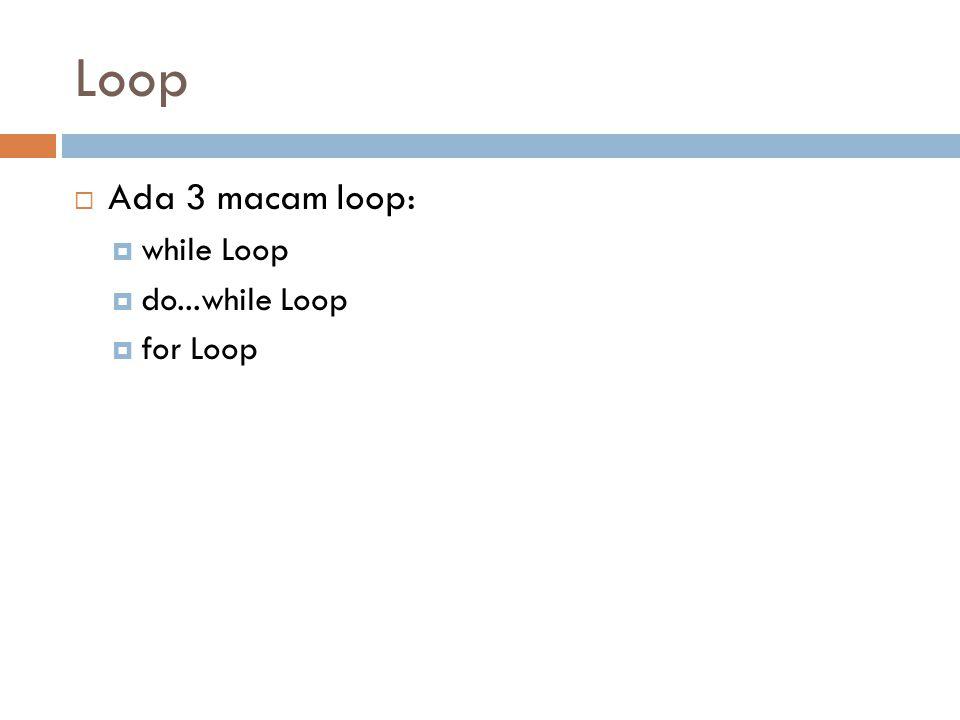 Loop  Ada 3 macam loop:  while Loop  do...while Loop  for Loop