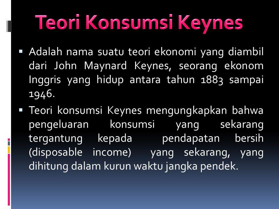  Adalah nama suatu teori ekonomi yang diambil dari John Maynard Keynes, seorang ekonom Inggris yang hidup antara tahun 1883 sampai 1946.