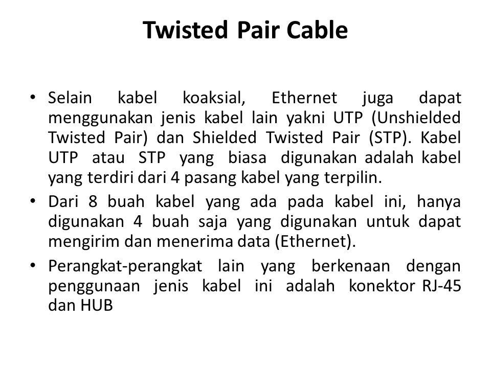 Twisted Pair Cable Selain kabel koaksial, Ethernet juga dapat menggunakan jenis kabel lain yakni UTP (Unshielded Twisted Pair) dan Shielded Twisted Pair (STP).