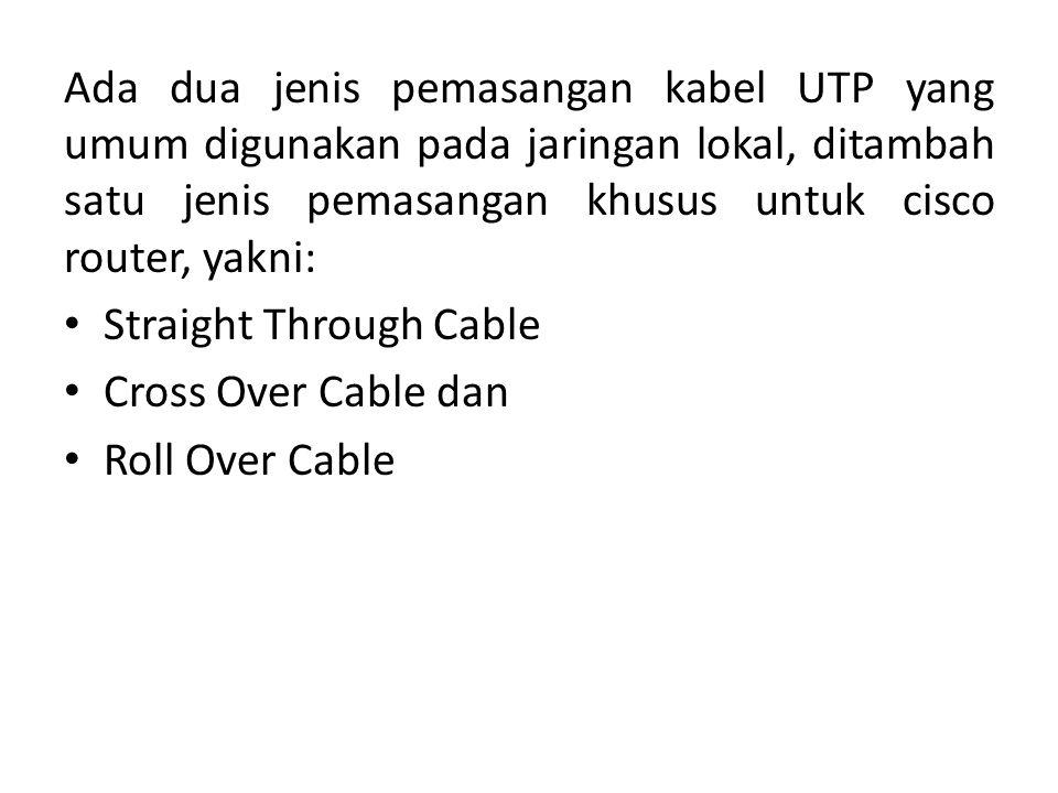 Ada dua jenis pemasangan kabel UTP yang umum digunakan pada jaringan lokal, ditambah satu jenis pemasangan khusus untuk cisco router, yakni: Straight