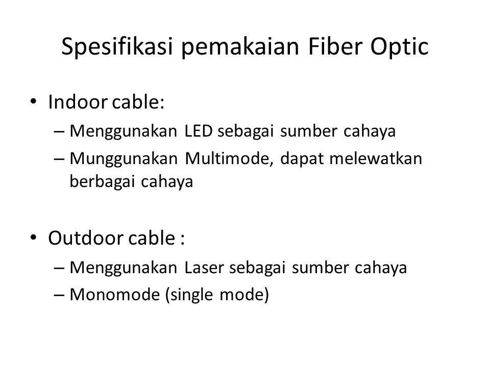 Spesifikasi pemakaian Fiber Optic Indoor cable: – Menggunakan LED sebagai sumber cahaya – Munggunakan Multimode, dapat melewatkan berbagai cahaya Outd