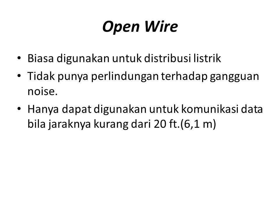 Open Wire Biasa digunakan untuk distribusi listrik Tidak punya perlindungan terhadap gangguan noise. Hanya dapat digunakan untuk komunikasi data bila