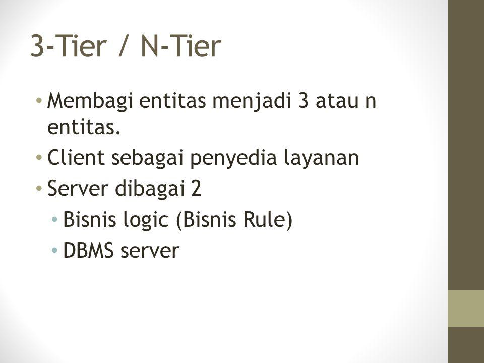 3-Tier / N-Tier Membagi entitas menjadi 3 atau n entitas. Client sebagai penyedia layanan Server dibagai 2 Bisnis logic (Bisnis Rule) DBMS server