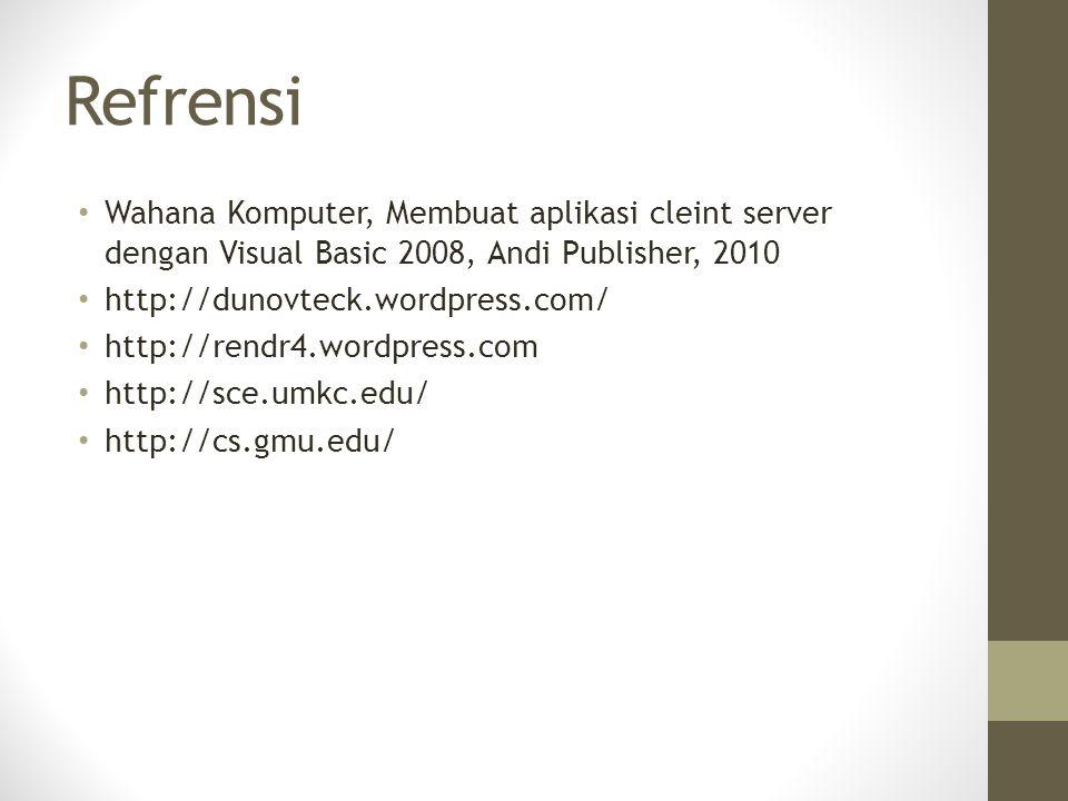 Refrensi Wahana Komputer, Membuat aplikasi cleint server dengan Visual Basic 2008, Andi Publisher, 2010 http://dunovteck.wordpress.com/ http://rendr4.