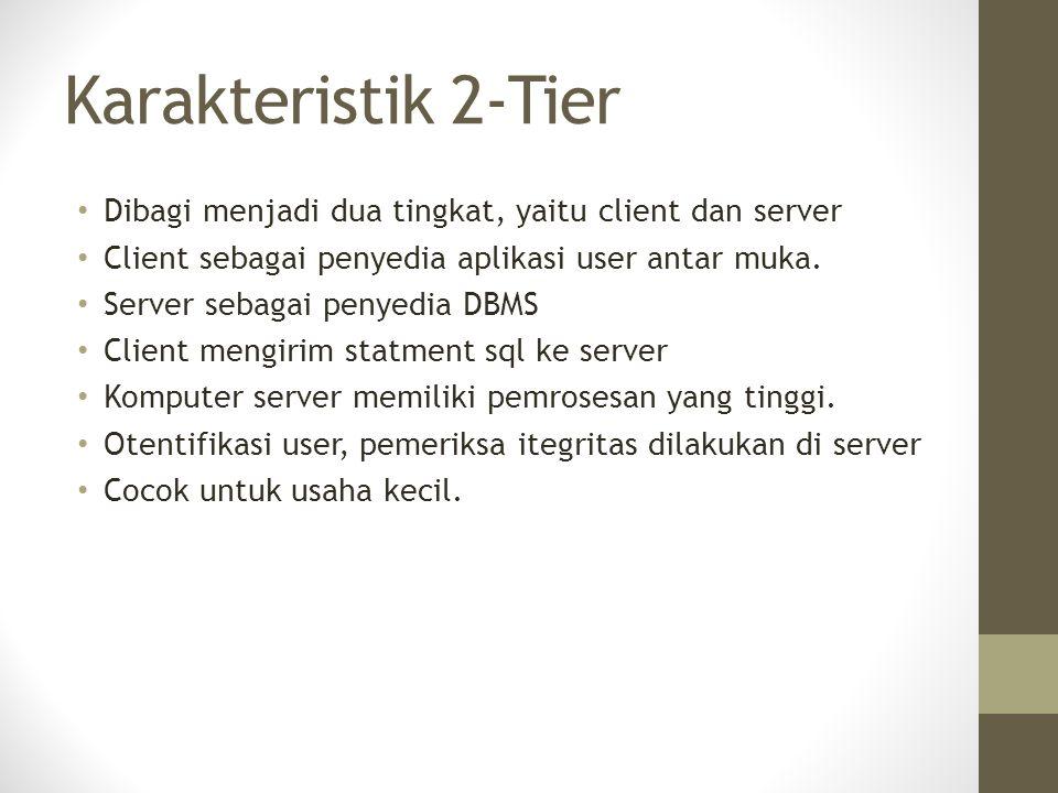 Karakteristik 2-Tier Dibagi menjadi dua tingkat, yaitu client dan server Client sebagai penyedia aplikasi user antar muka. Server sebagai penyedia DBM