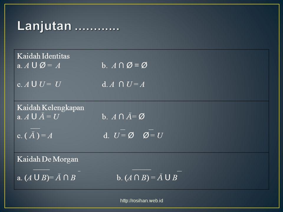 Kaidah Identitas a. A U Ø = A b. A ∩ Ø = Ø c. A U U = U d. A ∩ U = A Kaidah Kelengkapan a. A U Ā = U b. A ∩ Ā = Ø c. ( Ā ) = A d. U = Ø Ø = U Kaidah D