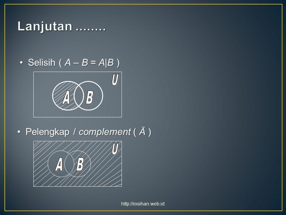 Selisih ( A – B = A|B )Selisih ( A – B = A|B ) Pelengkap / complement ( Ā )Pelengkap / complement ( Ā ) http://rosihan.web.id