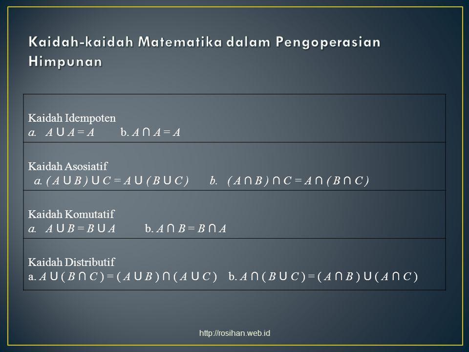 Kaidah Identitas a.A U Ø = A b. A ∩ Ø = Ø c. A U U = U d.