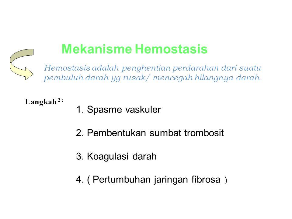 Mekanisme Hemostasis 1.Spasme vaskuler 2.Pembentukan sumbat trombosit 3.Koagulasi darah 4.( Pertumbuhan jaringan fibrosa ) Hemostasis adalah penghenti