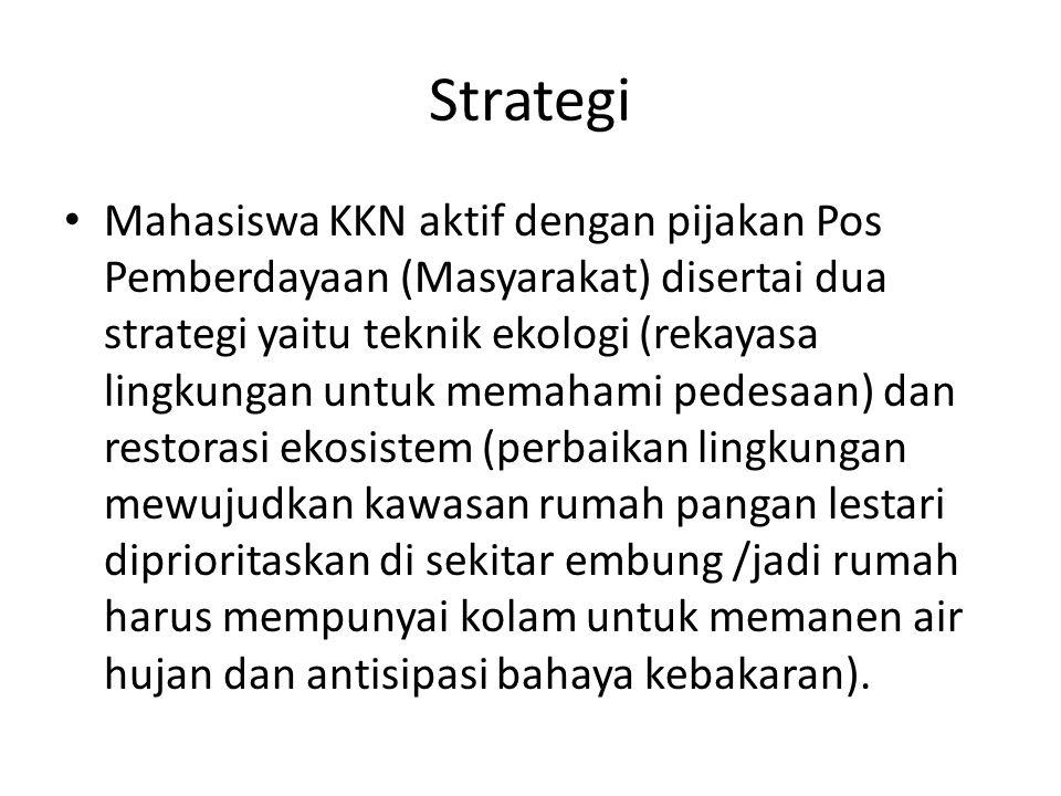 Strategi Mahasiswa KKN aktif dengan pijakan Pos Pemberdayaan (Masyarakat) disertai dua strategi yaitu teknik ekologi (rekayasa lingkungan untuk memaha