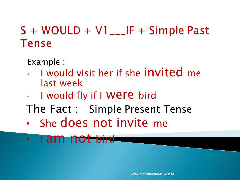 Example : I would visit her if she invited me last week I would fly if I were bird www.mohamadfaozi.web.id The Fact : Simple Present Tense She does no