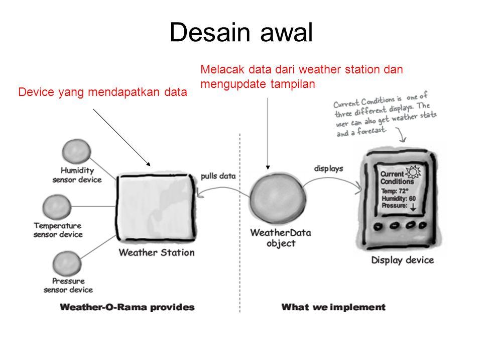 Desain awal Device yang mendapatkan data Melacak data dari weather station dan mengupdate tampilan