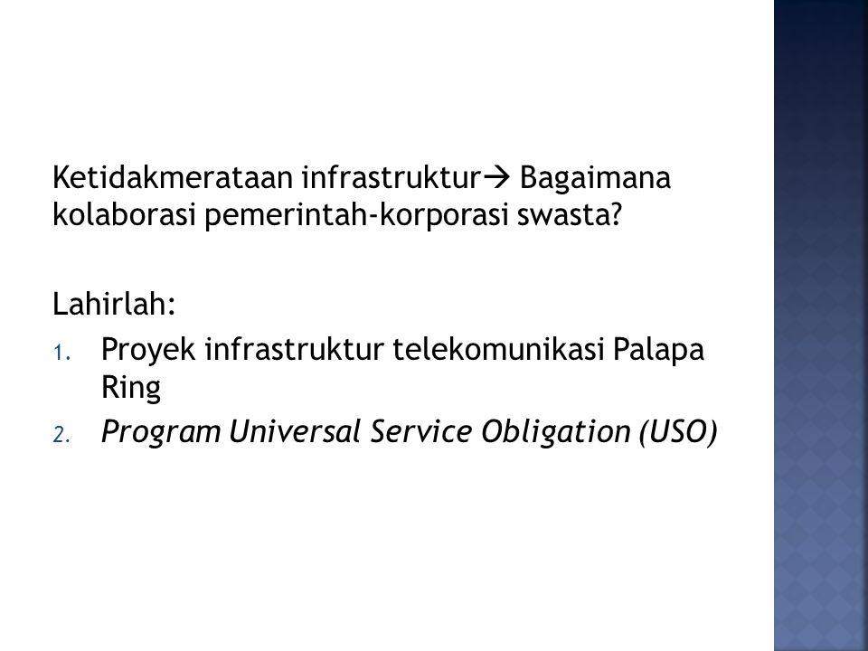 Ketidakmerataan infrastruktur  Bagaimana kolaborasi pemerintah-korporasi swasta? Lahirlah: 1. Proyek infrastruktur telekomunikasi Palapa Ring 2. Prog