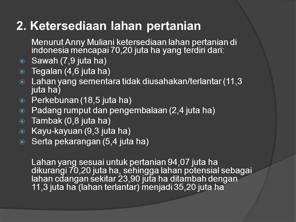 2. Ketersediaan lahan pertanian Menurut Anny Muliani ketersediaan lahan pertanian di indonesia mencapai 70,20 juta ha yang terdiri dari:  Sawah (7,9