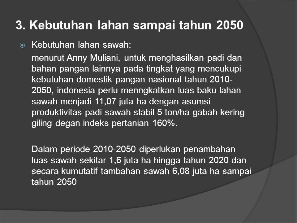 3. Kebutuhan lahan sampai tahun 2050  Kebutuhan lahan sawah: menurut Anny Muliani, untuk menghasilkan padi dan bahan pangan lainnya pada tingkat yang