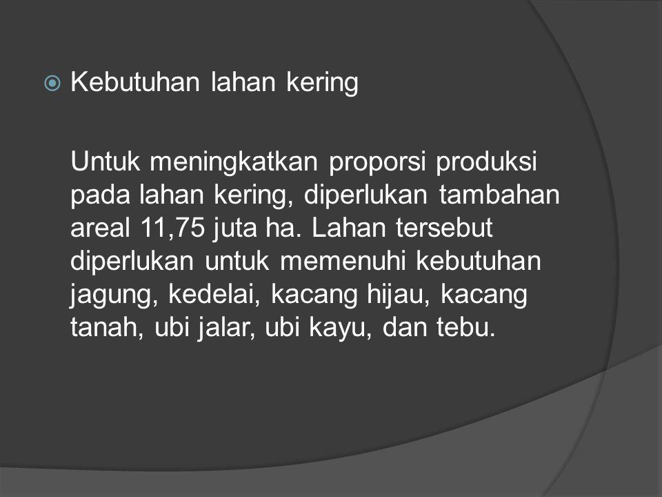  Kebutuhan lahan kering Untuk meningkatkan proporsi produksi pada lahan kering, diperlukan tambahan areal 11,75 juta ha. Lahan tersebut diperlukan un