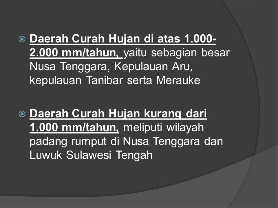  Daerah Curah Hujan di atas 1.000- 2.000 mm/tahun, yaitu sebagian besar Nusa Tenggara, Kepulauan Aru, kepulauan Tanibar serta Merauke  Daerah Curah