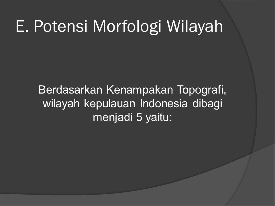 E. Potensi Morfologi Wilayah Berdasarkan Kenampakan Topografi, wilayah kepulauan Indonesia dibagi menjadi 5 yaitu: