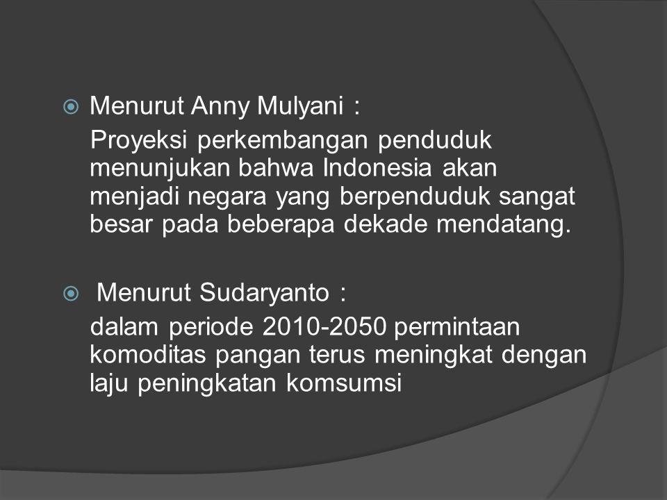  Menurut Anny Mulyani : Proyeksi perkembangan penduduk menunjukan bahwa Indonesia akan menjadi negara yang berpenduduk sangat besar pada beberapa dek