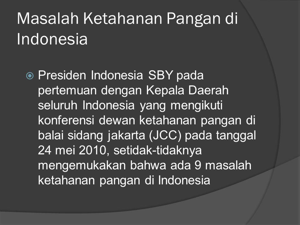 Masalah Ketahanan Pangan di Indonesia  Presiden Indonesia SBY pada pertemuan dengan Kepala Daerah seluruh Indonesia yang mengikuti konferensi dewan k