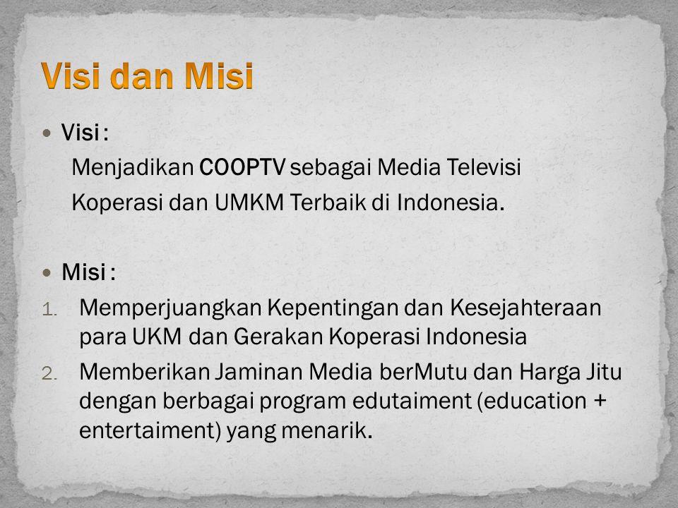 Visi : Menjadikan COOPTV sebagai Media Televisi Koperasi dan UMKM Terbaik di Indonesia. Misi : 1. Memperjuangkan Kepentingan dan Kesejahteraan para UK