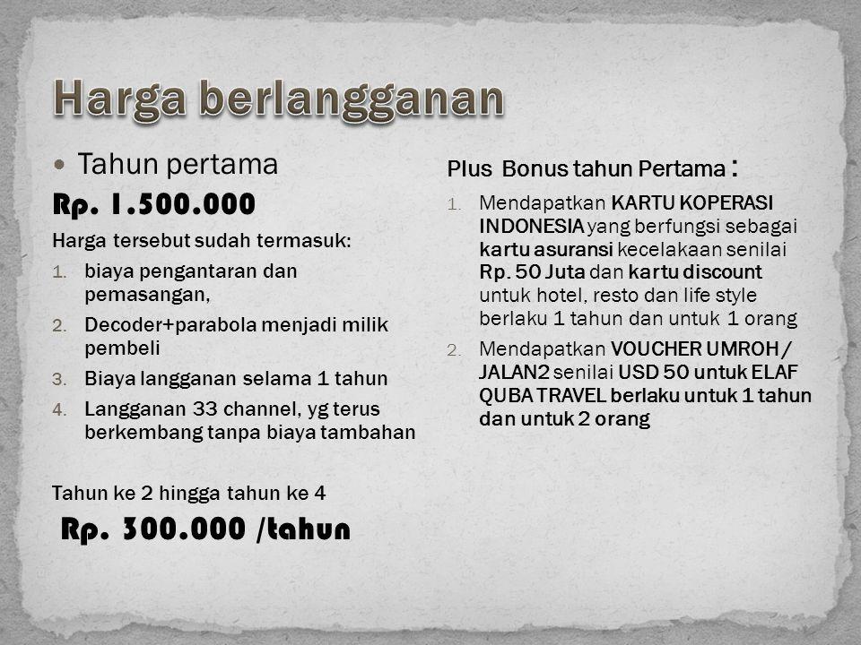 Tahun pertama Rp. 1.500.000 Harga tersebut sudah termasuk: 1. biaya pengantaran dan pemasangan, 2. Decoder+parabola menjadi milik pembeli 3. Biaya lan