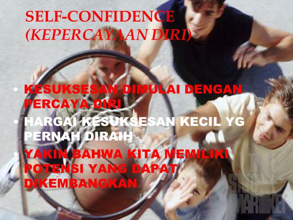 SELF-CONFIDENCE (KEPERCAYAAN DIRI) KESUKSESAN DIMULAI DENGAN PERCAYA DIRI HARGAI KESUKSESAN KECIL YG PERNAH DIRAIH YAKIN BAHWA KITA MEMILIKI POTENSI Y
