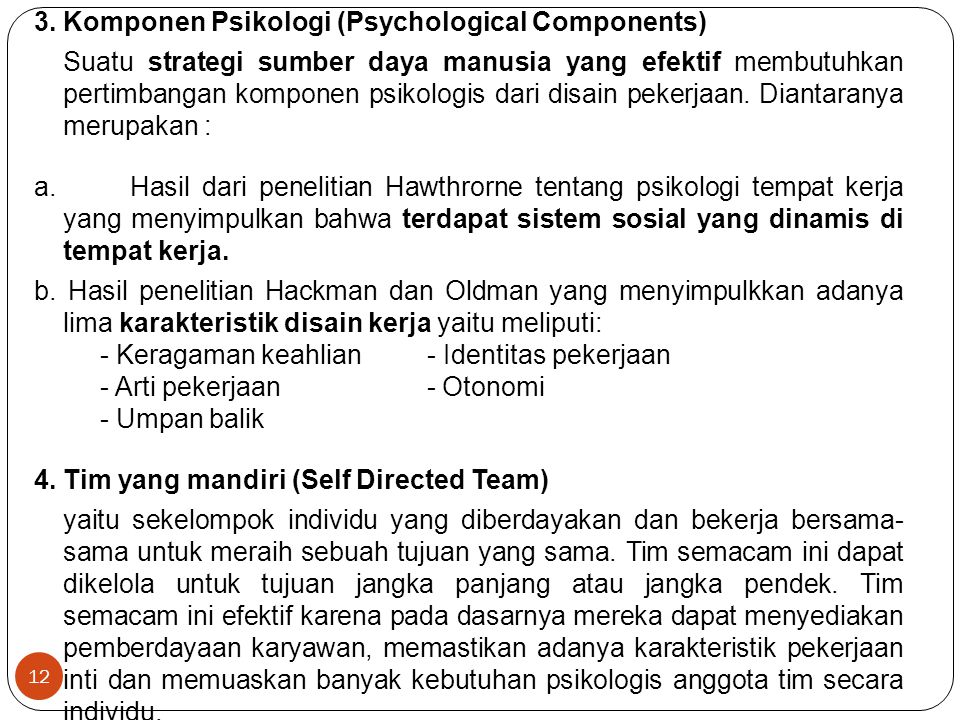 12 3. Komponen Psikologi (Psychological Components) Suatu strategi sumber daya manusia yang efektif membutuhkan pertimbangan komponen psikologis dari