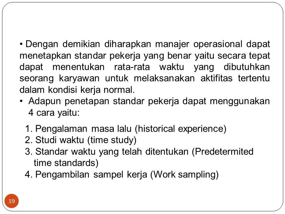19 Dengan demikian diharapkan manajer operasional dapat menetapkan standar pekerja yang benar yaitu secara tepat dapat menentukan rata-rata waktu yang