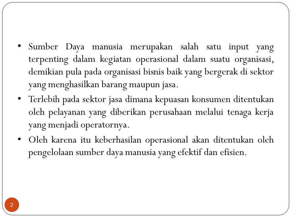 2 Sumber Daya manusia merupakan salah satu input yang terpenting dalam kegiatan operasional dalam suatu organisasi, demikian pula pada organisasi bisn