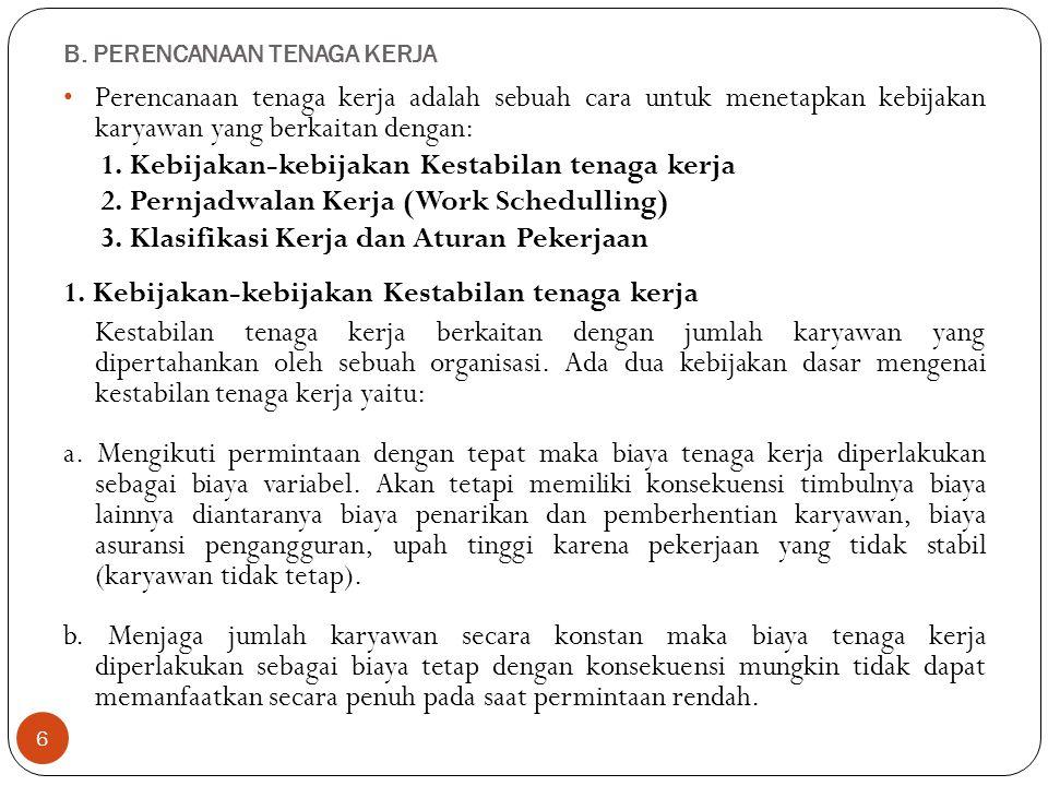 B. PERENCANAAN TENAGA KERJA 6 Perencanaan tenaga kerja adalah sebuah cara untuk menetapkan kebijakan karyawan yang berkaitan dengan: 1. Kebijakan-kebi