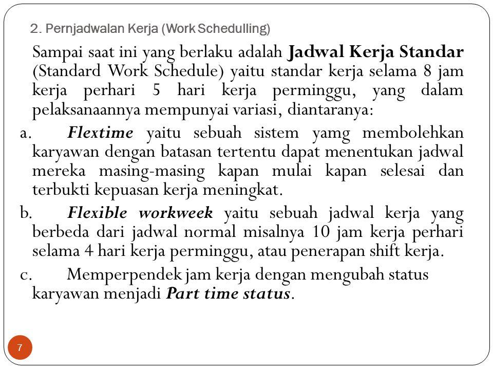 2. Pernjadwalan Kerja (Work Schedulling) 7 Sampai saat ini yang berlaku adalah Jadwal Kerja Standar (Standard Work Schedule) yaitu standar kerja selam