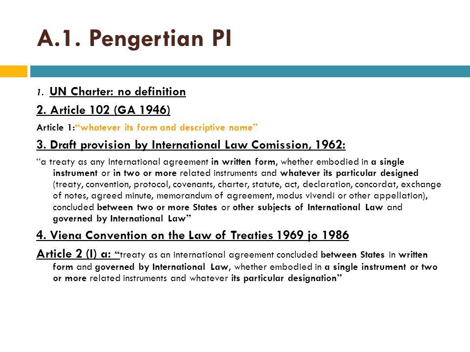 Pengertian Perjanjian Internasional Peraturan PerUUan di INDONESIA 1.