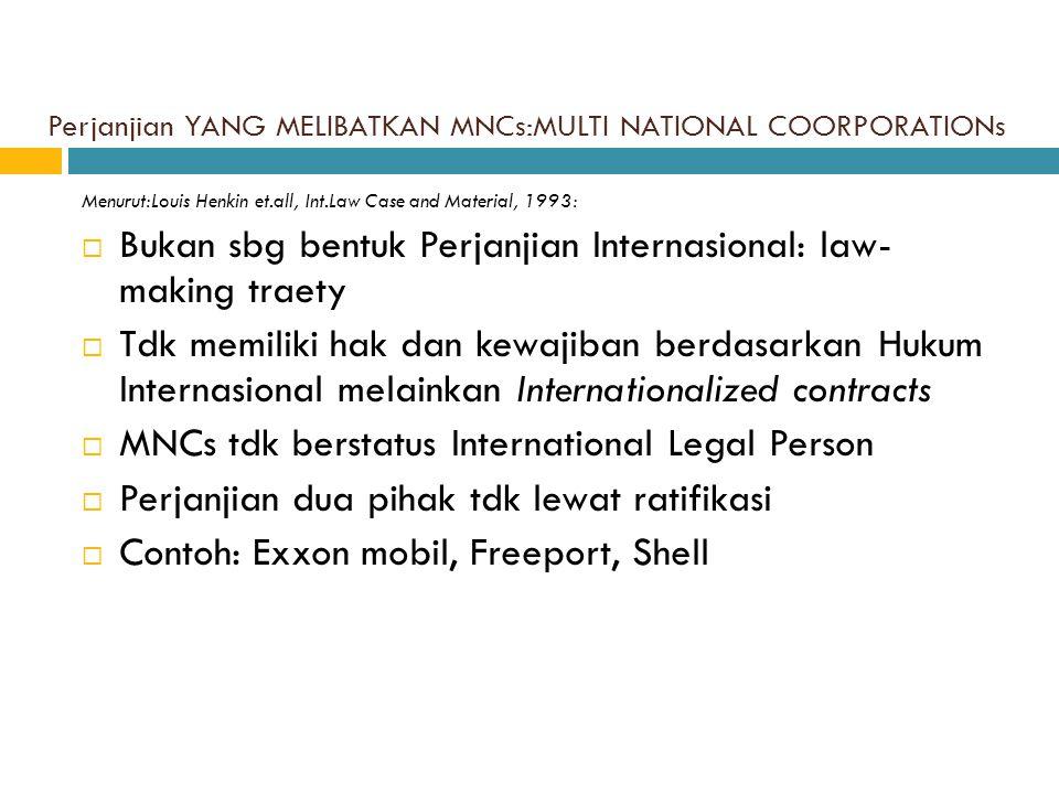 C.Karakteristik Perjanjian Internasional a. Yg dpt didaftarkan  SUBYEK: Dibuat oleh min.