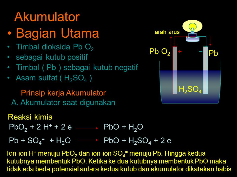 Akumulator Bagian Utama Timbal dioksida Pb O 2 sebagai kutub positif Timbal ( Pb ) sebagai kutub negatif Asam sulfat ( H 2 SO 4 ) H 2 SO 4 Pb O 2 Pb arah arus PbO 2 + 2 H + + 2 e PbO + H 2 O Pb + SO 4 = + H 2 OPbO + H 2 SO 4 + 2 e Prinsip kerja Akumulator A.