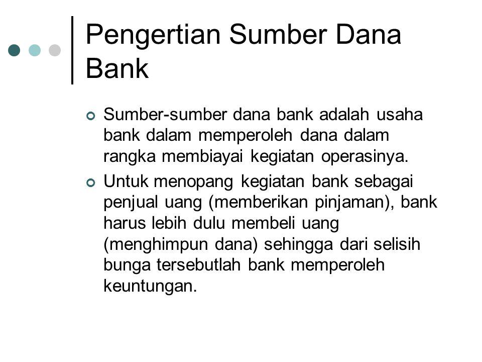 Pengertian Sumber Dana Bank Sumber-sumber dana bank adalah usaha bank dalam memperoleh dana dalam rangka membiayai kegiatan operasinya. Untuk menopang