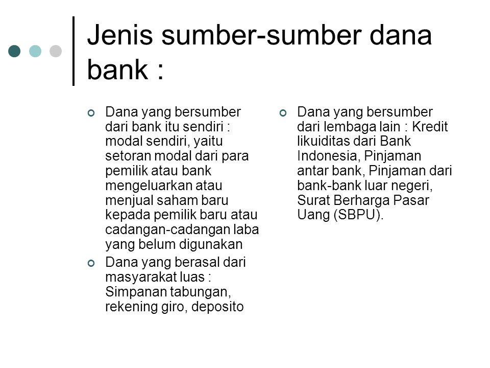 Jenis sumber-sumber dana bank : Dana yang bersumber dari bank itu sendiri : modal sendiri, yaitu setoran modal dari para pemilik atau bank mengeluarka